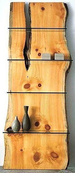 pine slab bookcase
