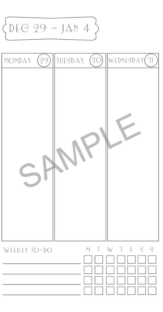 Dated, 2015 Week on Two Pages printable insert for Midori ...