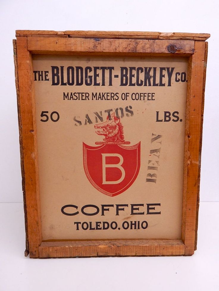 Vintage Antique Blodgett Beckley 50lb Coffee Box Bean Store Advertising Sign #Coffee