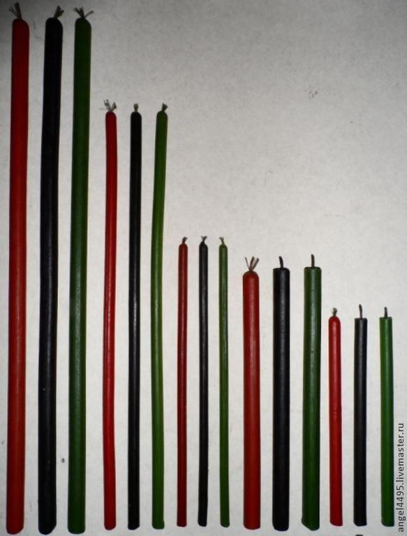 Свечи церковные цветные восковые - красные,черные,зеленые. - черный,свечи ручной работы