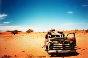 Along the Oodnadatta Track, Australia.  This is one of the many cars that lie abandoned along the old railway to Oodnadatta on the edge of the Simpson Desert.