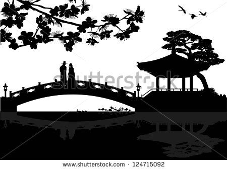 Illustration of Korean landscape silhouette with a couple on a bridge, vector