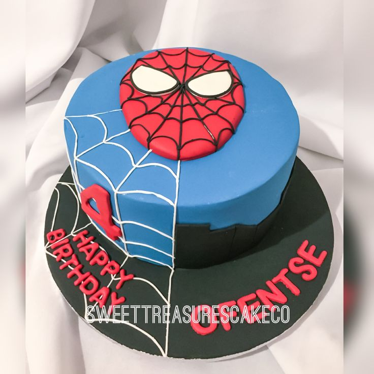 Ofentse celebrated his 4th birthday party with this Spider-Man cake... #customcakes #sweettreasures #sweettreasurescakeco #4 #ofentse #party #celebrations #kidsparty #spiderman