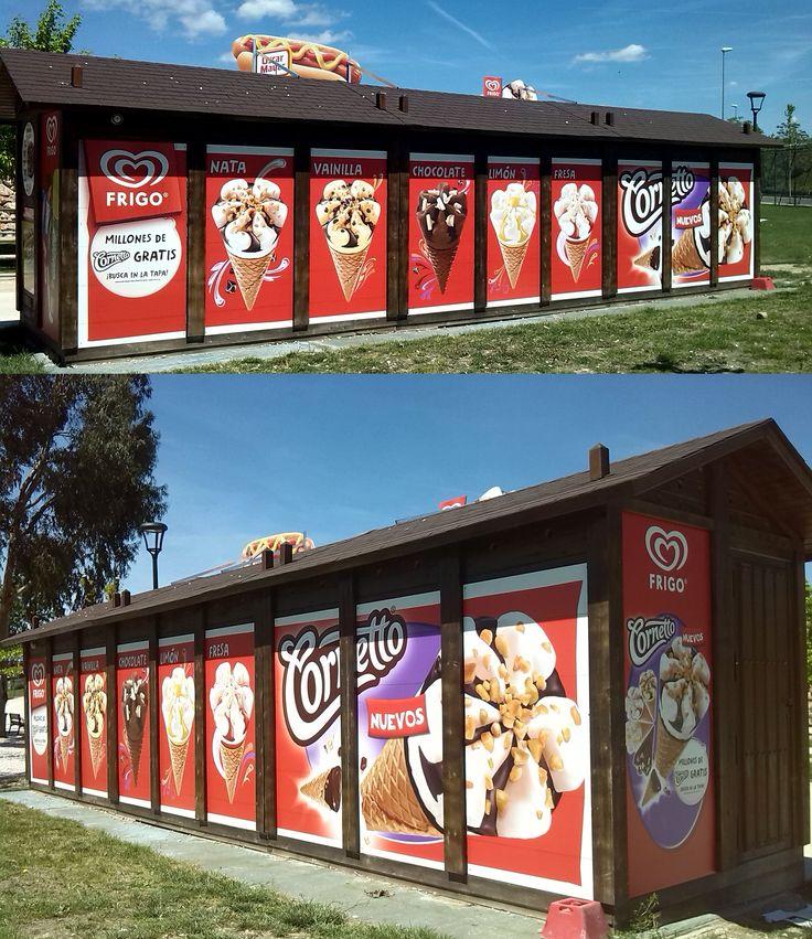 Personalización, visibilidad y unificación de todos los kioscos Frigo de Parque de Europa en Madrid.  Unilever: 2014