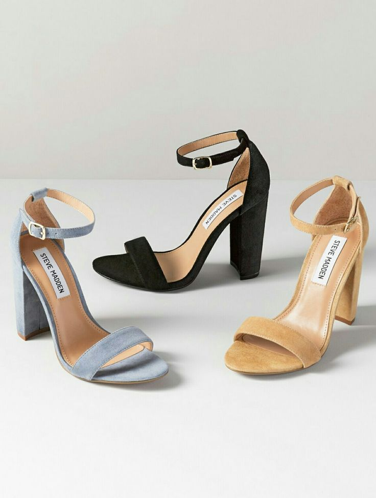 'Carrson' Sandal By Steve Madden A minimalist ankle-strap sandal set on a  chunky heel is cast in lush suede. Adjustable ankle strap with buckle  closure.