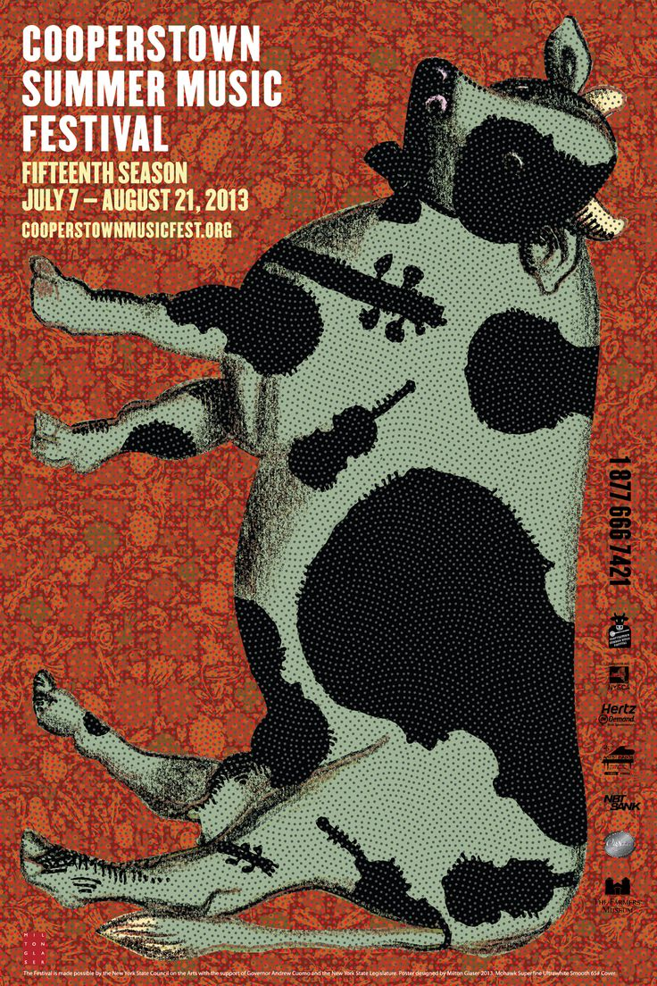 Design poster for concert - The 2013 Cooperstown Summer Music Festival Poster With A Violin Spotted Cow The