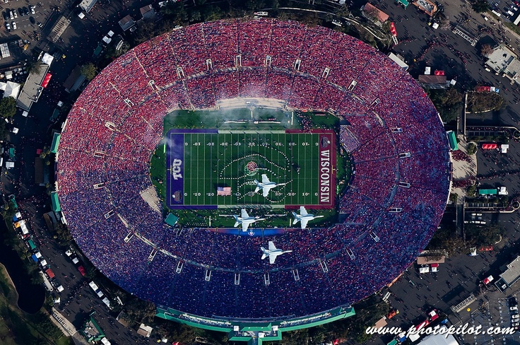 Four F-18 Hornets fly over the Rose Bowl Stadium on January 1, 2011 in Pasadena, California, where the Wisconsin Badgers played the TCU Horned Frogs, at the conclusion of the National Anthem.