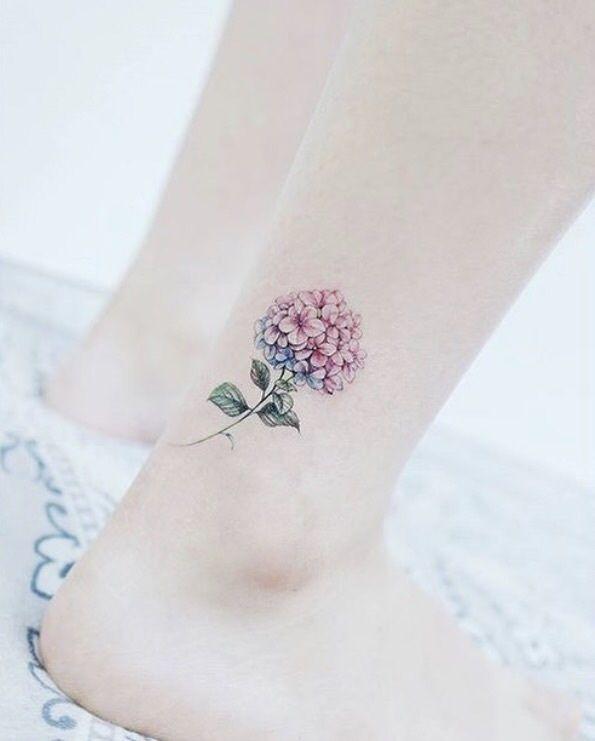 Pin By Wisteria On Tattoos Piercings Hydrangea Tattoo Bouquet Tattoo Small Tattoos