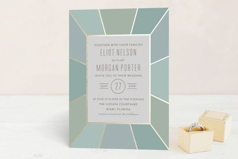 """Pavilion"" - Vintage, Formal Foil-pressed Wedding Invitations in Sea Glass by Sara Hicks Malone."