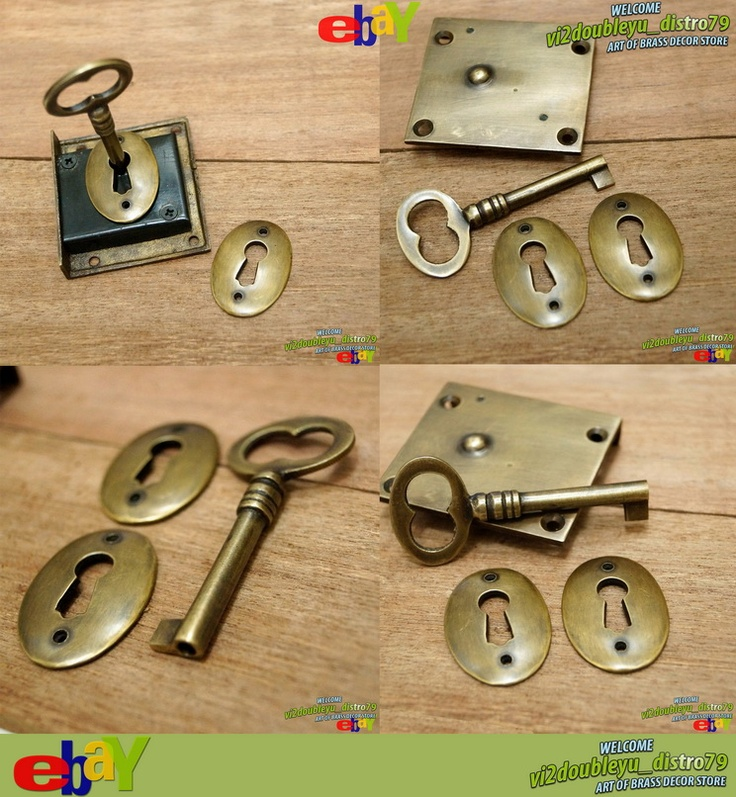 Antique Vtg BRASS KEY LOCK and SKELETON Keys with RETRO Round KEY HOLE Plate, unused and GREAT GIFT for your home decor. #flyer #Key_lock #Key_hole #Brass #Antique #Vintage #Home_decor
