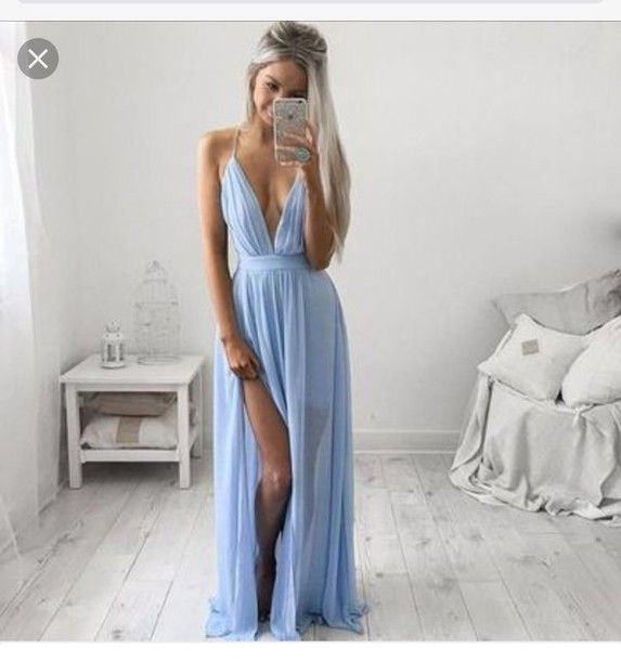Deep V Neck Prom Dress,Split Prom Dress,Chiffon Prom
