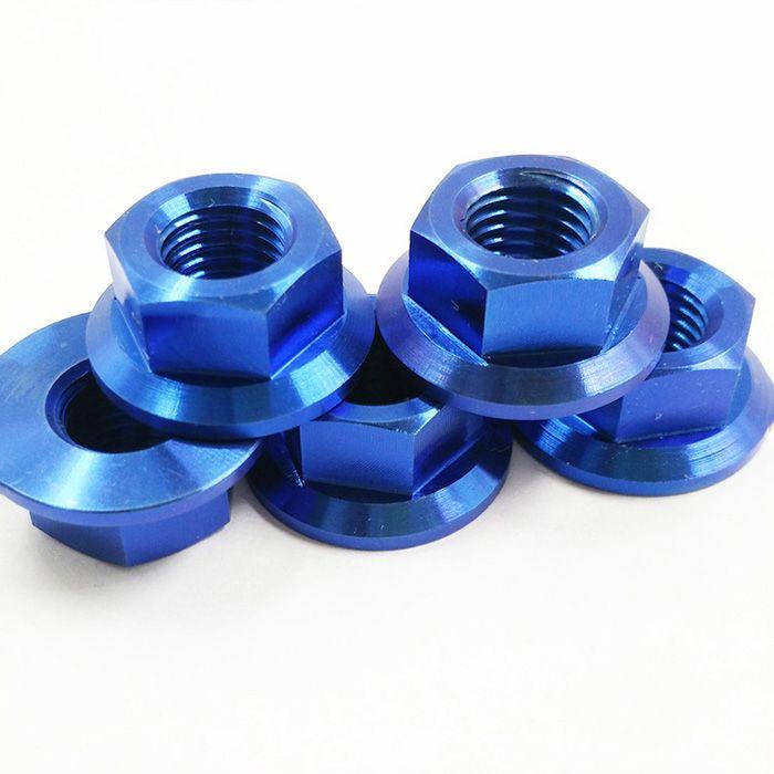 TITANIUM FLANGE NUTS  BLUE COLOUR