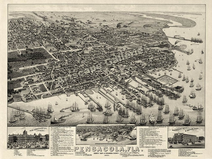 birds eye view 1885 pensacola fl historic map