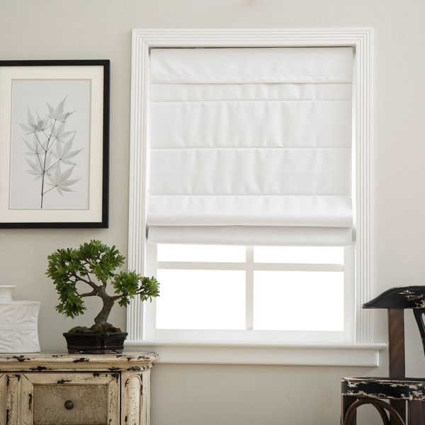 These blackout shades are child and pet-friendly with a cordless lift mechanism. Our fabric roman blackout shade in cloud white color blocks out light and helps provide insulation. The back of the sha