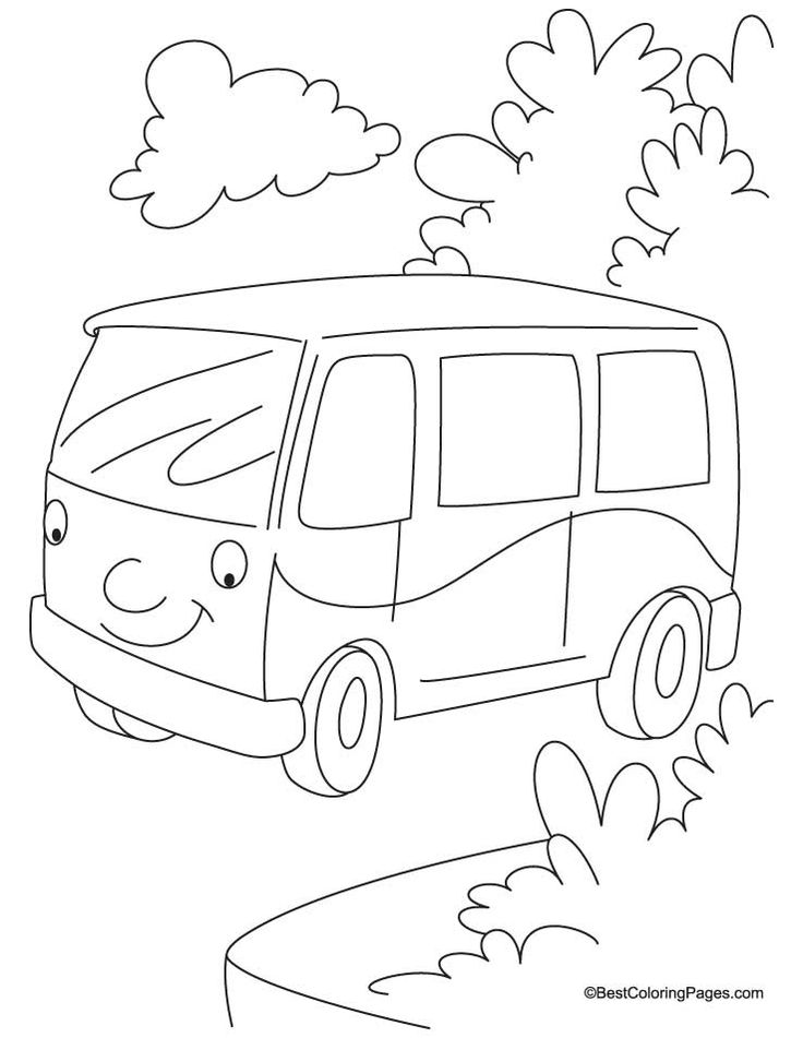 Jungle Van Coloring Page