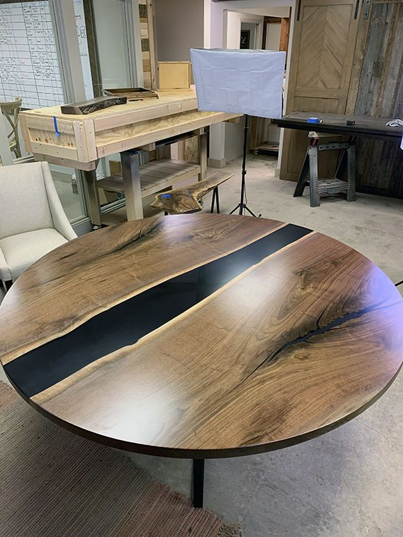 Round Walnut Table With Black Epoxy Resin In 2020 Walnut Table Table Custom Table