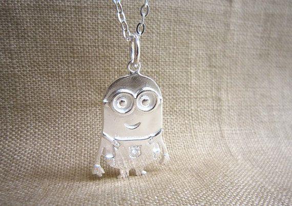 SILVER Minion Necklace - Despicable Me Minion Banana Pendant .925 - Minion Jewelry