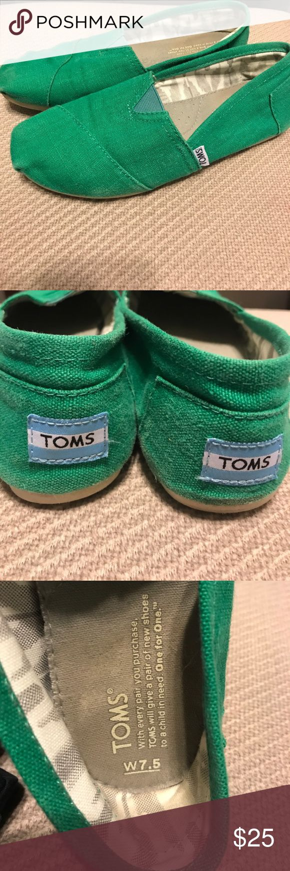 Green Toms Only worn a few times! Green, size 7.5 Toms in great condition! TOMS Shoes