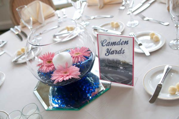 Spring brings the return of America's favorite pastime.These baseball fansnamed each of their reception tables after a MLB ballpark.Photo Credit: Rachael Foster Photography