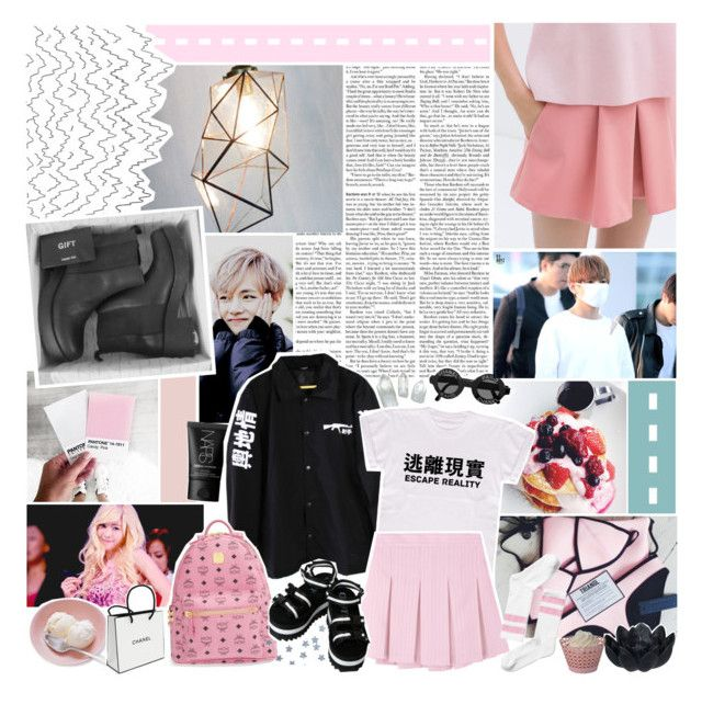 """""""Oh, Then There's You, Within My Scattered Heart"""" by indie-fox ❤ liked on Polyvore featuring NARS Cosmetics, MCM, Chanel, Sia, Monki, tumblr, kpop, bts, aesthetic and isabellanutella"""