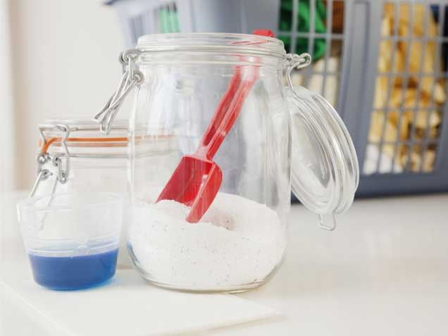 Pretty Storage  Placing detergent in clear glass or plastic containers makes a laundry room feel more polished and organized. Vary the containers for an eclectic feel.