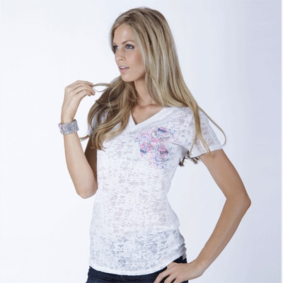 Katydid Collection S/S Fitted White Burn out $32.95 #pinkribbon #gopink #thinkpinkFit White, Pinkribbon Gopink, 32 95 Pinkribbon, Gopink Thinkpink, Pink Ribbons, Breast Cancer Shirts, Collection S S, White Burning, Katydid Collection
