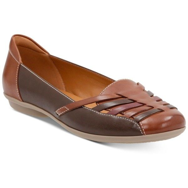 Clarks Collection Women's Gracelin Gemma Flats ($42) ❤ liked on Polyvore featuring shoes, flats, brown multi, strappy flat shoes, slip on shoes, brown flat shoes, strappy flats and brown slip on shoes