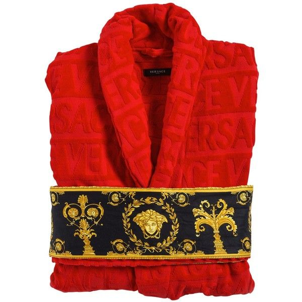 Versace Home Baroque  Robe Bathrobe ($535) ❤ liked on Polyvore featuring intimates, robes, tie belt, versace bathrobe, versace, versace robe and bath robes
