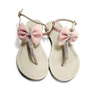 YESSTYLE: Cara- Bow Sandals (Pink - 240)