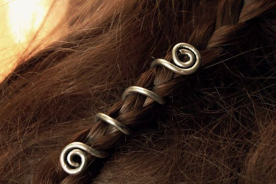 2 Custom Viking hair beads • Spiral hair coils • Beard jewelry • Dwarven beard…
