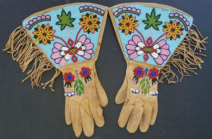 ***Plateau Indian Beaded & Fringed Gauntlets c. 1890s