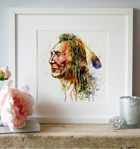Native American Warrior Watercolor painting Wall by Artsyndrome