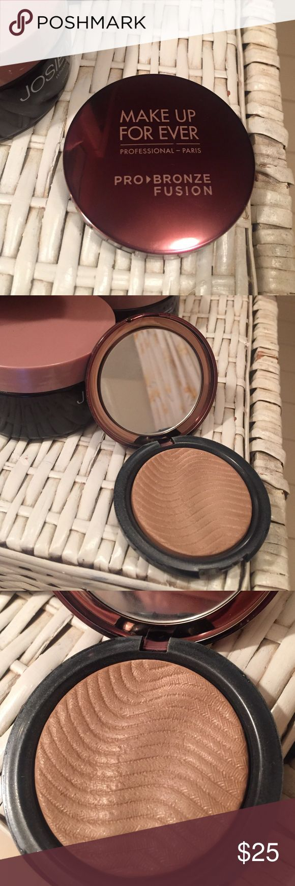 Makeup forever pro fusion bronzer MUFE pro fusion bronzer. This is the lightest shade. EUC barely used, the indents on the surface are barely touched. Gorgeous natural bronzer! Makeup Forever Makeup Bronzer