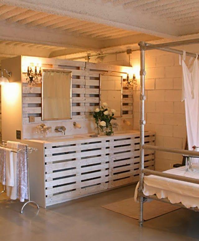 palets_decoracion: Bathroom Design, Diy'S Idea, Woods Pallets, Pallets Idea, Bathroom Vanities, Wooden Pallets, Pallets Furniture, Old Pallets, Pallets Projects