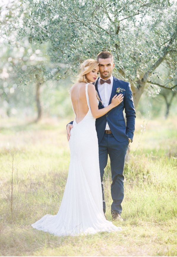Bride and Groom style. Bride in a stunning Micaela Oliveira Dress.