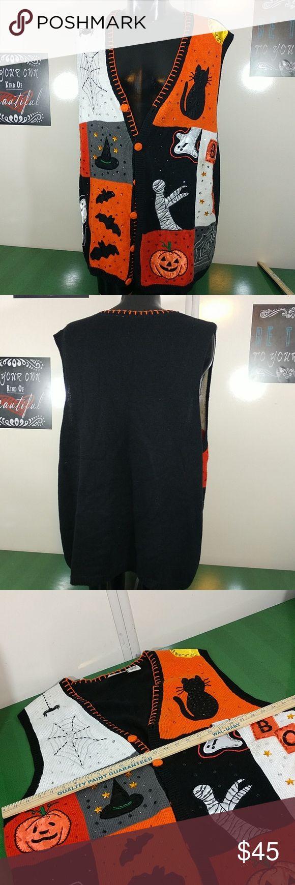 Holiday Sweater Vest Plus 3x Cats, Mummies, Bats Sweater