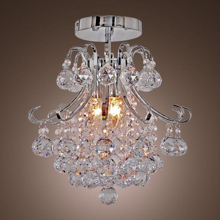Flush Mount Chandelier Crystal 3-Lamp Ceiling Lighting Fixture Living Room Decor #LightInTheBox #ModernComtemporary