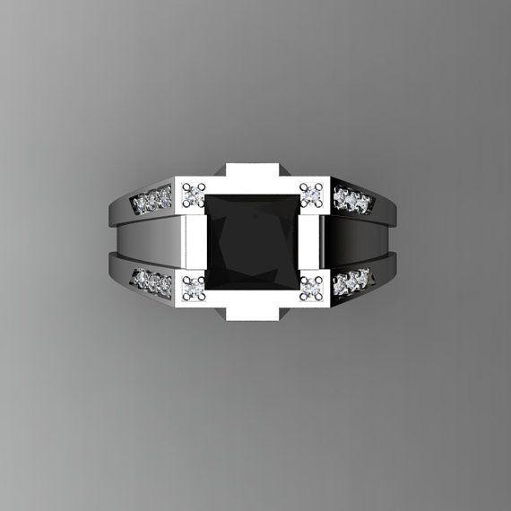Gentlemens moderne 14k or blanc carats 2,0 princesse diamant noir diamant bague R1020M-14KWGDBD par David K Designs.  Comprend :  * 1 x plus de 8,0 grammes TW (environ) de la bague en or blanc 14k de cast (cachet) * 16 x rond carat 0,010 (environ 0,16 Carat poids Total) naturel VS-SI G-H blanc diamants * 1 x princesse carat 2,0 (7,0 x 7,0 mm diam) laboratoire cultivé black diamond Centre Pierre (montrer le dioxyde de zirconium de grade) Anneau de taille 9 (Etats-Unis), R 1/2 (Royaume Uni)…