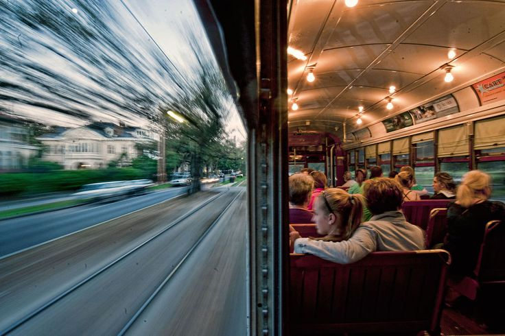 """""""This is a streetcar in New Orleans traveling back towards The Quarter on St. Charles Ave. I held the camera against the window sill, making sure to divide the image equally between the inside and the outside."""" (© Don Chamblee)"""