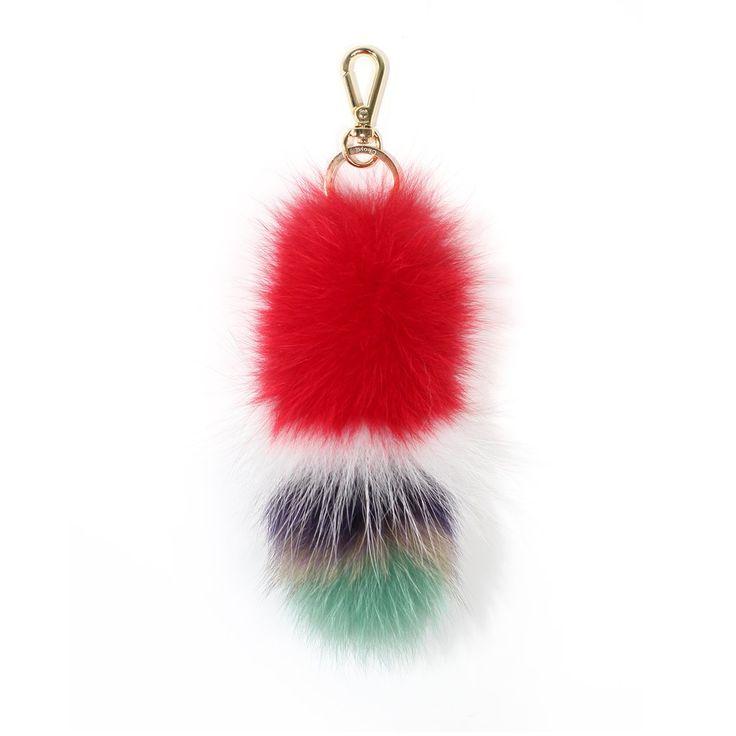 Red multi fox tail keychain