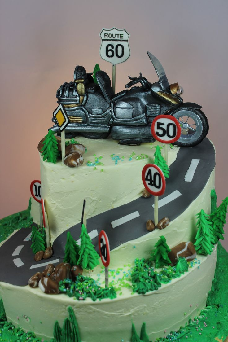 2 Tier Birthday Cake With Goldwing Bike Topper 2
