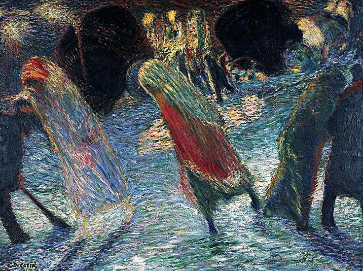 CARLO CARRA (Italian, 1881 – 1966) Leaving the Theatre (c.1910) (Uscita dal teatro) Oil on Canvas Estorick Collection of Modern Italian Art, London UK.