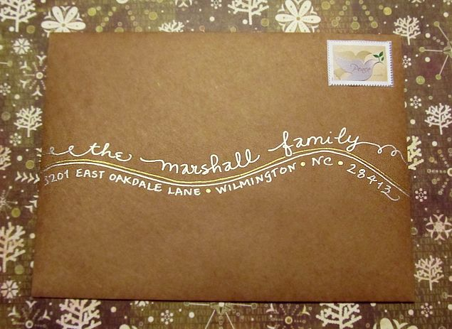 "My ""Shoreline"" writing style on Kraft paper envelope with metallic inks.  www.bigflourish.com.  Calligraphy by Carrie"