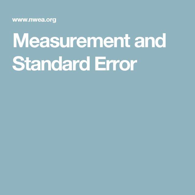 Measurement and Standard Error