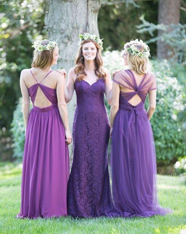 robes demoiselle d'honneur en violet pour mariage