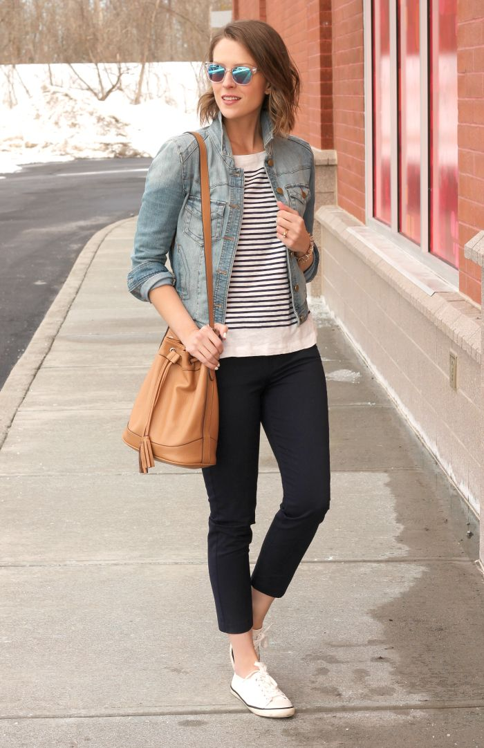 navy skinny pants, striped sweater or tee, Jean jacket, tennies