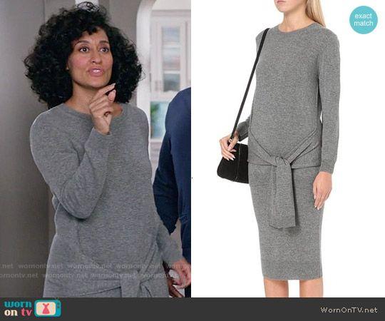 Rainbow's grey tie-waist sweater dress on Black-ish ...