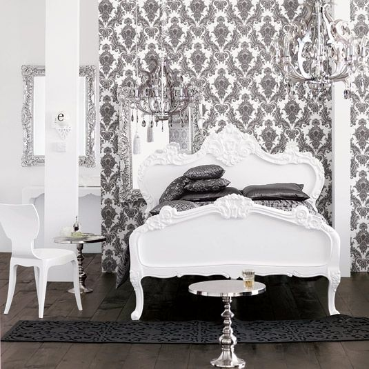 Black And White Bedroom. Damask Wallpaper. Chandelier