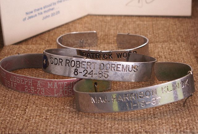 POW-MIA Bracelets | I remember these.  The name on each bracelet is an American who was either a prisoner of war or missing in action during the Vietnam War.  What a tragedy.