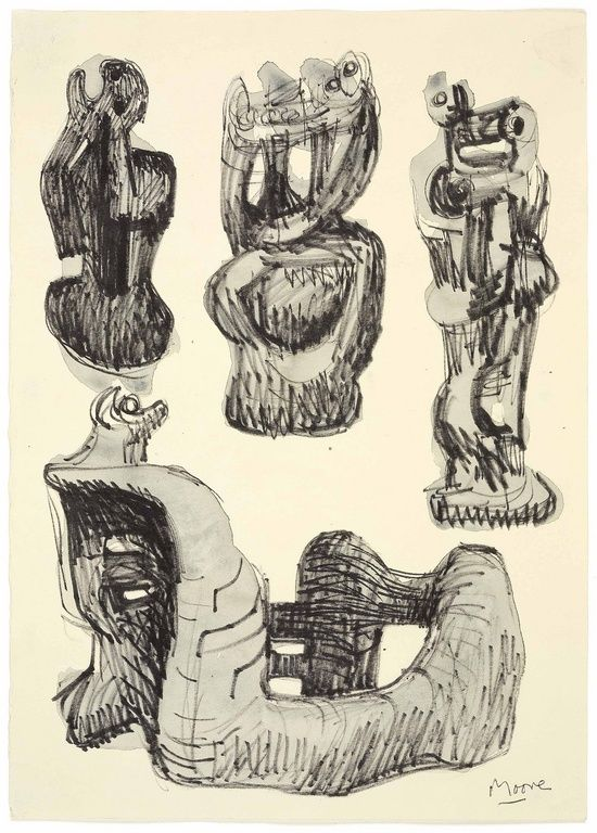 Ideas for Wood Sculpture, Henry Moore 1972